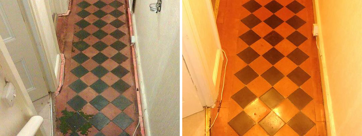 Victorian Tiled Hallway Barnstaple Before and After restoration