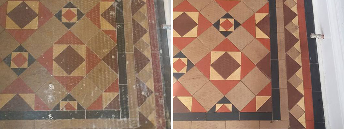 Victorian Tiled Hallway Before and After Restoration at Bude Bed and Breakfast