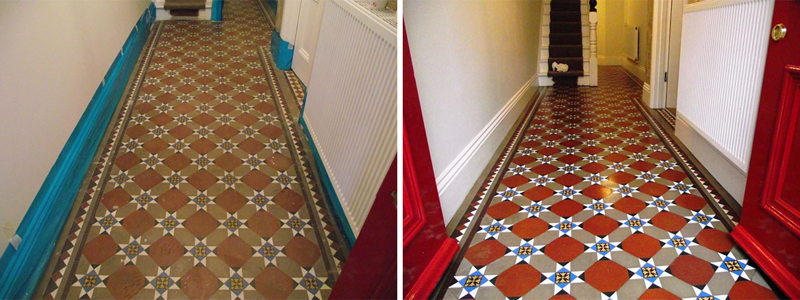 Victorian Tiled Hallway floor in Bideford Before and After cleaning and sealing